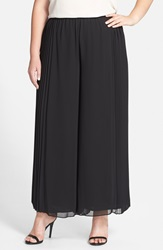 Alex Evenings Pleated Side Wide Leg Pants Plus Size Black