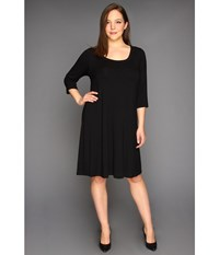 Karen Kane Plus Size Three Quarter Sleeve A Line Dress Black Women's Dress
