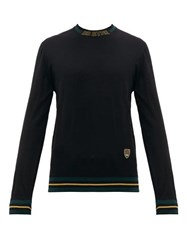 Dolce And Gabbana Striped Trim Crest Embroidered Wool Blend Sweater Black