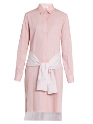 Maison Martin Margiela Tie Waist Striped Cotton Shirtdress Pink White