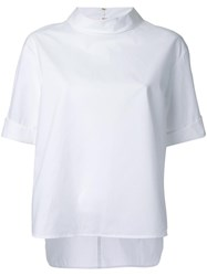 Muveil Stand Up Collar Top White
