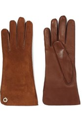Loro Piana Leather And Suede Gloves Brown