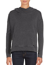 Betsey Johnson Performance Heathered Long Sleeve Hoodie Charcoal