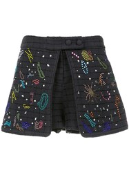 Andrea Bogosian Layered Applique Shorts Blue