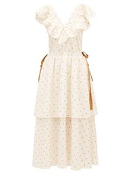 Loup Charmant Kalame Ruffled Polka Dot Embroidered Cotton Dress White Print