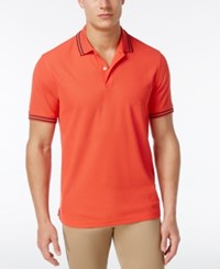 Club Room Men's Striped Trim Cotton Polo Only At Macy's Lipstick Coral