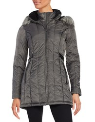 Nautica Faux Fur Hooded Puffer Coat Chrome