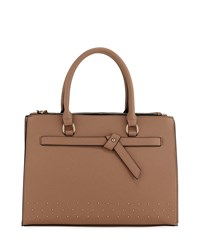Neiman Marcus Knotted Top Handle Satchel Bag Taupe