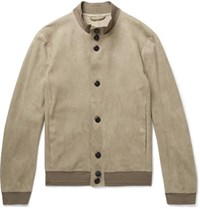 Giorgio Armani Unlined Suede Jacket Beige