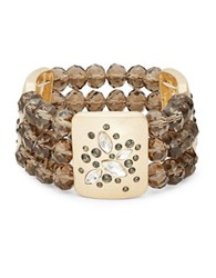 Design Lab Lord And Taylor Crystal Accented Stretch Beaded Bracelet Brown