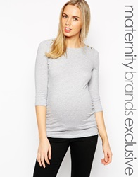 New Look Maternity 3 4 Sleeve Boatneck Top Grey