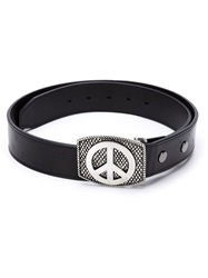 Lucien Pellat Finet Lucien Pellat Finet Peace Sign Embossed Buckle Belt Black