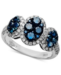Effy Bella Bleu By Diamond Blue And White Diamond Three Oval 1 5 8 Ct. T.W. In 14K White Gold