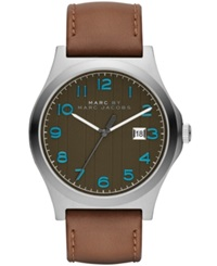 Marc By Marc Jacobs Men's Jimmy Brown Leather Strap Watch 43Mm Mbm5047