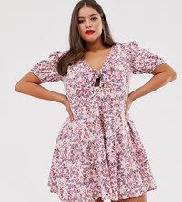 Asos Design Curve Tie Front Mini Tea Dress With Puff Sleeves In Vintage Floral Multi