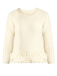 Vanessa Bruno Fluidity Tassel Trimmed Wool Knit Sweater Cream
