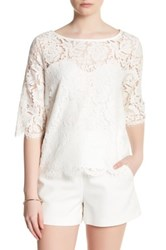 Cupcakes And Cashmere Summit Lace 3 4 Length Sleeve Shirt Beige