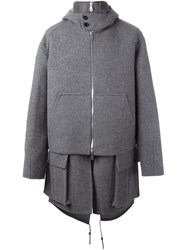 Juun.J Layered Oversized Coat Grey
