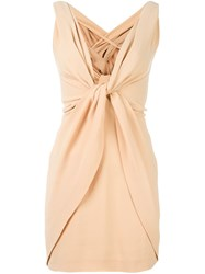 Dsquared2 V Neck Wrap Dress Nude And Neutrals
