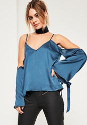 Missguided Blue Satin Cold Shoulder Tie Cuff Blouse Navy