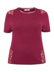 Persona Lace Insert Fine Knit Top Purple