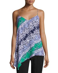 Laundry By Shelli Segal Multi Leaf Slip Tank Green Blue