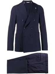 Manuel Ritz Classic Double Breasted Suit Blue