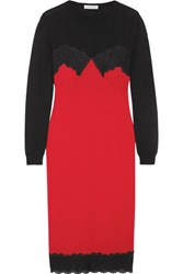Altuzarra Debbie Lace Trimmed Merino Wool And Crepe Dress Crimson