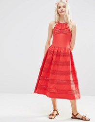Asos Cotton Midi Sundress With Lace Inserts Red