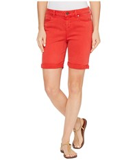 Liverpool Corine Rolled Cuff Walking Shorts In Pigment Dyed Stretch Slub Twill In Ribbon Red Ribbon Red Women's Shorts