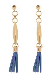 Trina Turk Leather Tassel Earrings Metallic