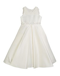 Joan Calabrese Lace Trim Satin Dress Ivory