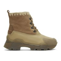 Mou Beige Lace Up Boots