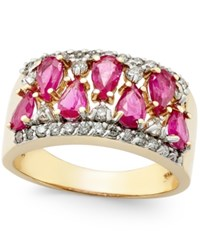 Macy's Ruby 2 1 10 Ct. T.W. And Diamond 3 8 Ct. T.W. Ring In 14K Gold Red
