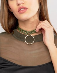 Asos Coated Toggle Choker Necklace Green