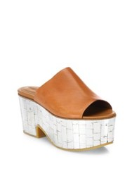 See By Chloe Arina Leather And Metallic Wedge Platform Mules Brown