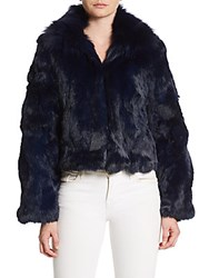 Adrienne Landau Fox And Rabbit Fur Chubby Coat Blue