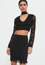 Missguided Black Jersey Crepe Lace Mini Skirt