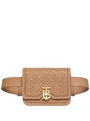 Burberry Belted Quilted Monogram Lambskin Tb Bag Neutrals
