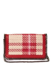 Stella Mccartney Falabella Checked Faux Leather Cross Body Bag Red White