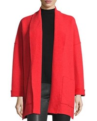 Eileen Fisher Boiled Wool Kimono Jacket Poppy Bright Red
