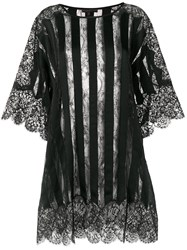 Amen Sheer Striped And Lace Trimmed Oversized Top Black