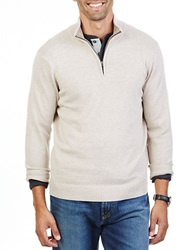 Nautica Quarter Zip Pullover Sweater Wodrift Flax