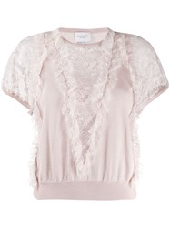 Giambattista Valli Lace Panelled Sweater Neutrals