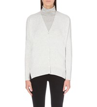 The White Company V Neck Knitted Cardigan Pale Grey Marl