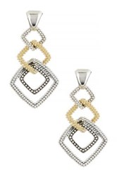 Lagos Sterling Silver And 18K Yellow Gold Soiree Square Dangle Earrings Metallic