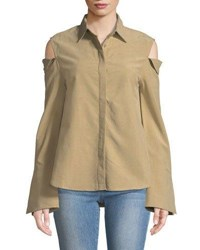 Evidnt Cold Shoulder Long Sleeve Button Front Blouse Taupe