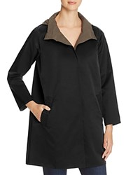 Eileen Fisher Petites Reversible Hooded Stand Collar Coat Black
