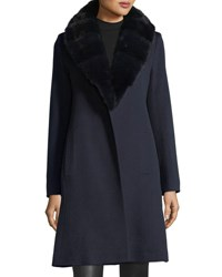 Fleurette Wrap Coat With Mink Fur Collar Midnight Mink