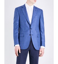 Canali Checked Wool Blend Jacket Navy